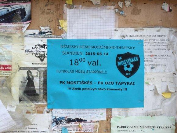 """""""Mostiškių"""" ekipos kvietimas į rungtynes"""