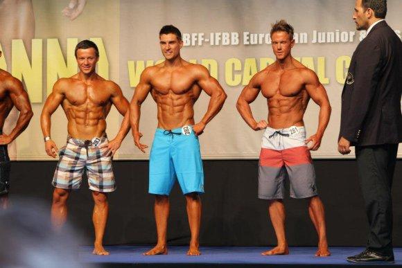 """""""IFBB"""" Europos čempionatas / P.Ratkevičius (kairėje), Ryanas Terry (viduryje), Robas Richesas (dešinėje) / P.Ratkevičius nuotr."""