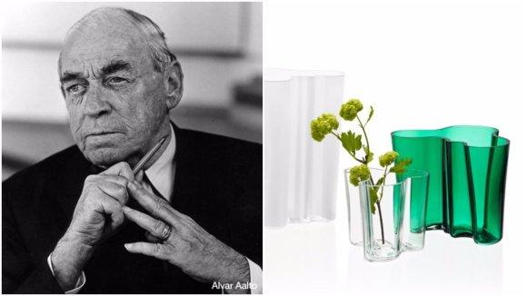 """Alvaras Aalto ir jo sukurta vaza / """"Iittala"""" nuotr. koliažas"""
