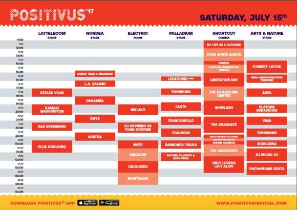 """Festivalio """"Positivus 2017"""" šeštadienio programa"""