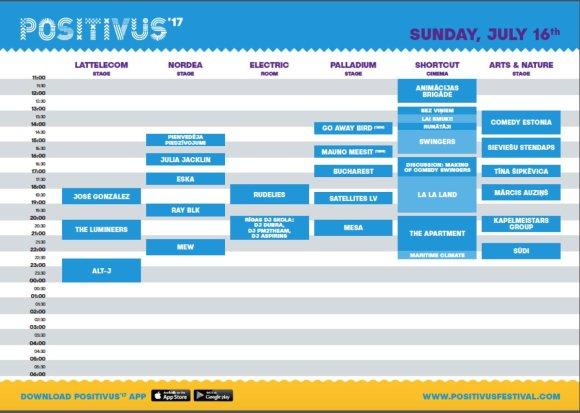 "Festivalio ""Positivus 2017"" sekmadienio programa"