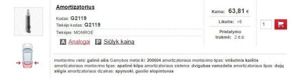 """""""Toyota Avensis"""" amortizatoriaus kaina Lietuvoje"""