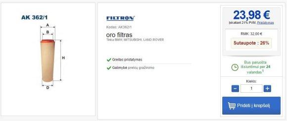 """""""BMW 330d"""" oro filtro kaina Lietuvoje"""