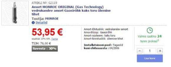 """""""Toyota Avensis"""" automobilio užpakalinio amortizatoriaus kaina Estijoje"""