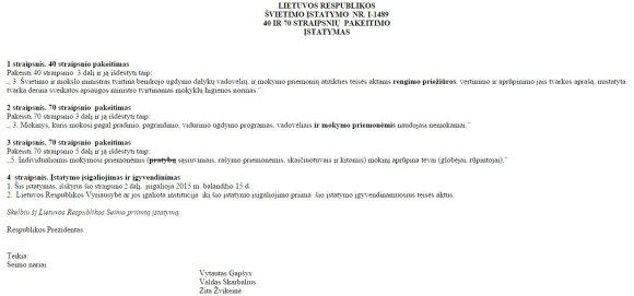 15min.lt/ Švietimo įstatymo pataisos