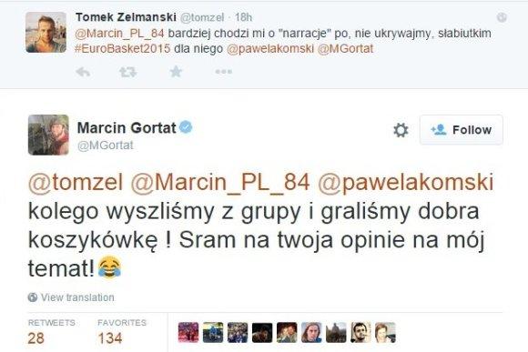 """15min.lt nuotr./Marcinas Gortatas nerinko žodžių """"Twitter"""" bendraudamas su rinktinės fanu"""
