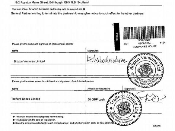 Oficialaus Jungtinės Karalystės registrui pateikto dokumento kopija/Milijardinėje aferoje dalyvavusios įmonės steigimas patvirtintas lietuvio Remigijaus Mikalausko parašu
