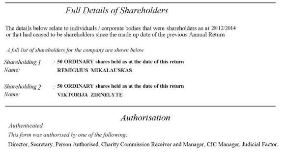 """Oficialaus Jungtinės Karalystės registro dokumento kopija/""""Royston Business Consultancy Ltd."""" akcininkų sąrašas"""