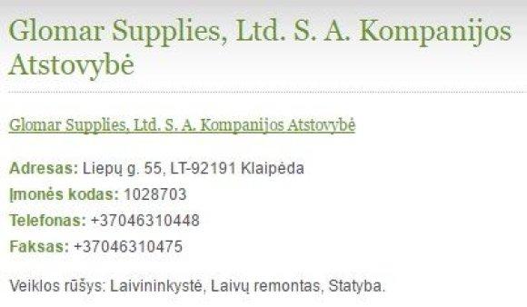 """uabinfo.lt nuotr./""""Glomar Supplies"""" telefono ir fakso numeriai sutampa su nurodytais ant """"sąskaitos ruošinio"""""""