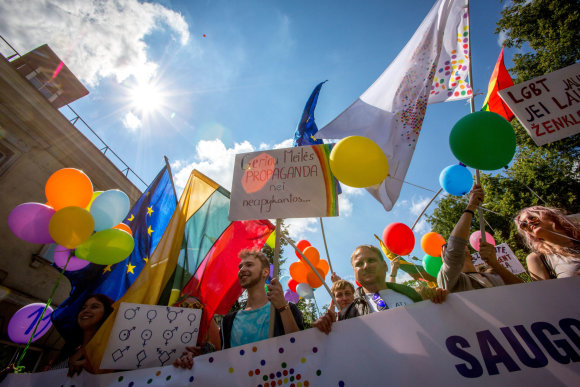 "Vidmanto Balkūno / 15min nuotr./ Baltic Pride 2016 eitynės ""Už lygybę!"""