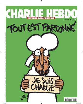 """""""Reuters""""/""""Scanpix"""" nuotr./Sausio 13 diena. Satyrinio savaitraščio """"Charlie Hebdo"""" viršelis po teroristų atakos"""