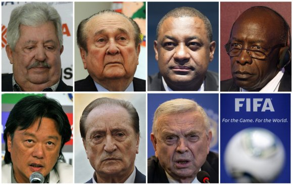"AFP/""Scanpix"" nuotr./Kaltinami FIFA pareigūnai (nuo viršaus kairės) Rafael Esquivel, Nicolas Leoz, Jeffrey Webb, Jack Warner, Eduardo Li, Eugenio Figueredo ir Jose Maria Marin"