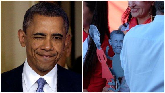 """""""Scanpix""""/AP ir LSDP nuotr./Baracko Obamos nuotrauka panaudota beždžionės galvai"""