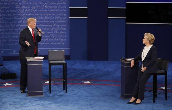 """""""Reuters""""/""""Scanpix"""" nuotr./Donaldo Trumpo ir Hillary Clinton antrieji debatai"""