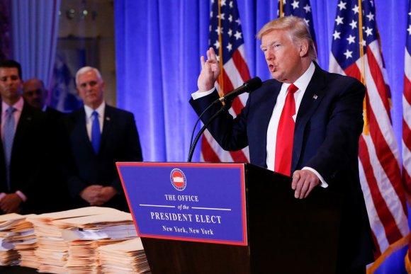 """Reuters""/""Scanpix"" nuotr./Išrinktojo JAV prezidento Donaldo Trumpo spaudos konferencija"