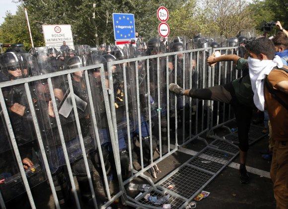 """""""Scanpix""""/AP nuotr./Migrantų keliami neramumai Vengrijoje"""