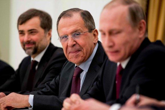 """AFP/""""Scanpix"""" nuotr./Rusijos prezidento Vladimiro Putino susitikimas su JAV valstybės sekretoriumi Johnu Kerry"""