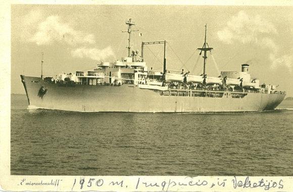 Leono Narbučio asmeninio archyvo nuotr./Laivas, kuriuo L. Narbutis atplaukė į JAV.
