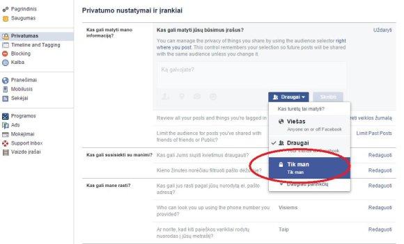 """""""Facebook"""" nustatymai"""
