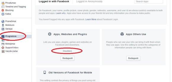 Facebook programų nustatymai