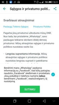 """Naujieji """"WhatsApp"""" privatumo nustatymai"""