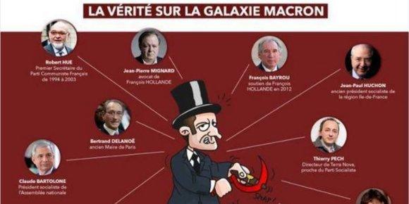 """""""Twitter"""" nuotr./E.Macroną įžeidžianti antisemitinė karikatūra"""