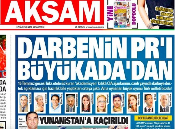"""""""Twitter"""" nuotr./Laikraščio """"Aksam"""" viršelis"""