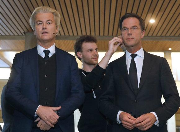 """""""Scanpix""""/AP nuotr./Geerto Wilderso ir Marko Rutte debatai dvi dienos prieš rinkimus"""