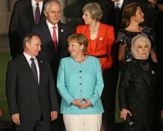 """""""Scanpix"""" nuotr./V.Putinas ir A.Merkel Kinijoje"""