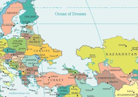 """""""Facebook"""" nuotr./Žemėlapis, kuriame Rusija vaizduojama kaip """"Svajonių vandenynas"""""""