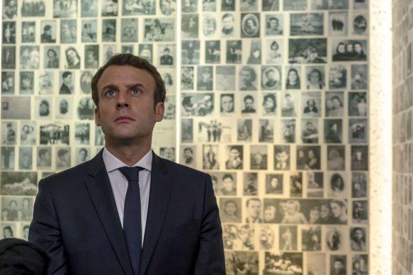 """""""Scanpix""""/""""SIPA"""" nuotr./Emmanuelis Macronas Šoa memoriale Paryžiuje"""