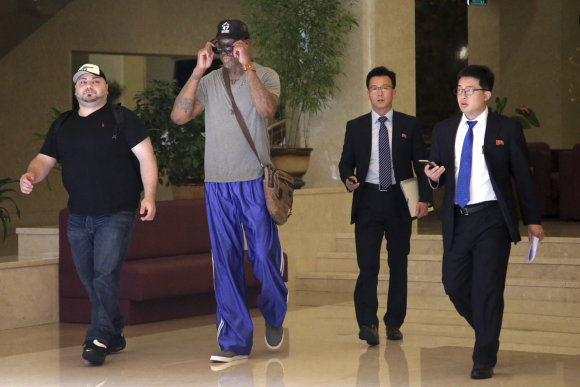"""""""Scanpix""""/AP nuotr./Dennisas Rodmanas vėl atvyko į Šiaurės Korėją"""
