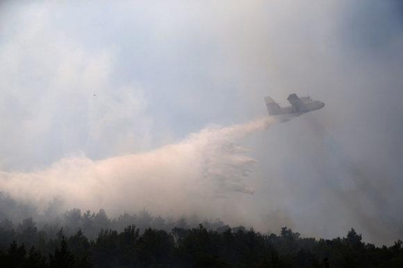 """""""Reuters""""/""""Scanpix"""" nuotr./Kroatijoje miško gaisrai kelia pavojų svarbiam Splito uostui"""