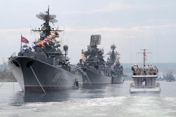 """""""Reuters""""/""""Scanpix"""" nuotr./Rusijos karo laivai Sevastopolio uoste"""