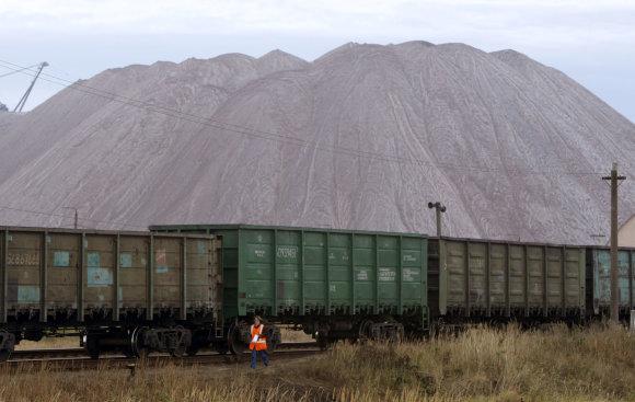 """""""Reuters""""/""""Scanpix"""" nuotr./Traukinio vagonai prie Salihorsko miesto Baltarusijoje"""