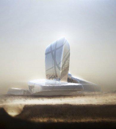 """""""Snohetta""""/Karaliaus Abdulazizo centro pastatas – vertikaliu segmentu viduryje akcentuota milžiniškų """"akmenų"""" architektūrinė kompozicija"""
