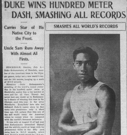 Plaukimo istorijos įdomybės. Duke Kahanamoku JAV žiniasklaidoje