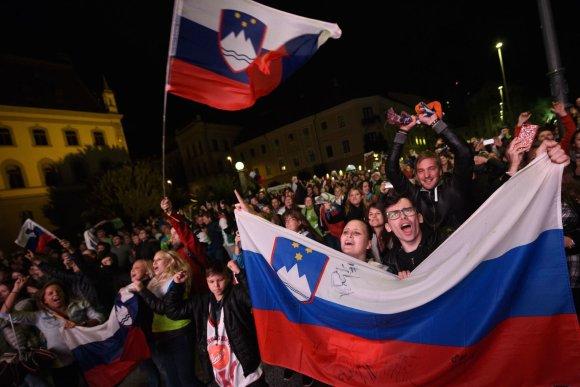 """AFP/""""Scanpix"""" nuotr./Liublianoje slovėnai šventė savo krepšininkų triumfą."""