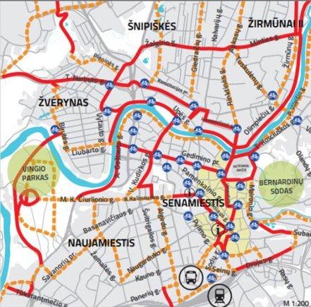 Vilnius.lt žemėlapis/Aktyviausiai naudojami dviračių takai Vilniuje