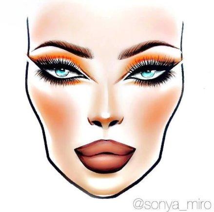 """Asmeninio archyvo nuotr./Vizažo meistrės Sonyos Miro kurtas dieninis """"Face Chart"""""""