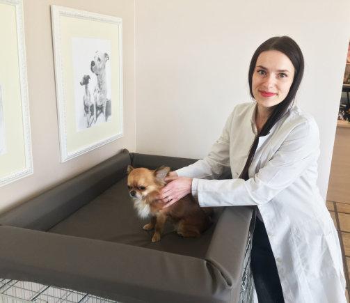 Asmeninio archyvo nuotr./Masažuotoja R.Ambroževič šuniui atlieka masažą