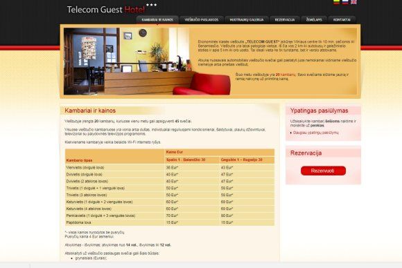 """15min nuotr./""""Telecom Guest"""" viešbučio internetinė svetainė"""