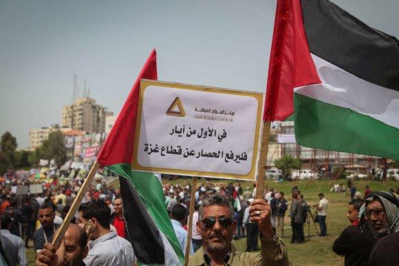 """""""Scanpix""""/""""SIPA"""" nuotr./Palestinos karius remiantis mitingas Gazoje"""