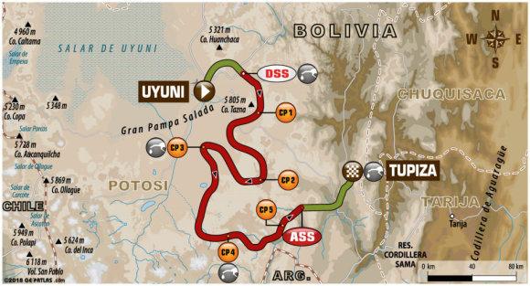 Organizatorių nuotr./Dakaras 2018: 8 greičio ruožo žemėlapis