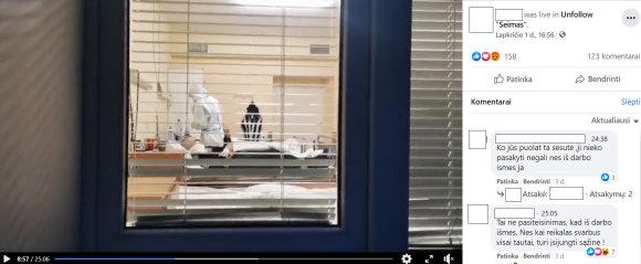 """15min nuotr./Ištrauka iš """"tuščių ligoninių"""" sąmokslą išaiškinti siekiančio vaizdo įrašo. Mėnesio pradžioje pasirodė ne vienas toks vaizdo įrašas"""