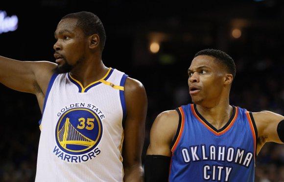 "AFP/""Scanpix"" nuotr./Kevinas Durantas ir Russellas Westbrookas"
