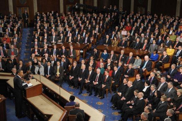 """AFP/""""Scanpix"""" nuotr./Metinis Baracko Obamos pranešimas Kongrese"""