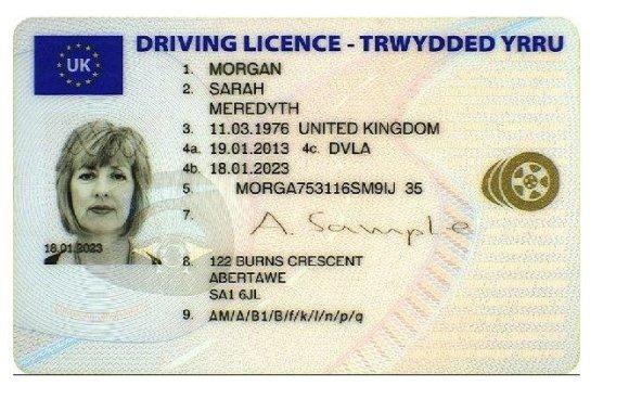 VSAT nuotr./Jungtinės Karalystės vairuotojo pažymėjimo pavyzdys
