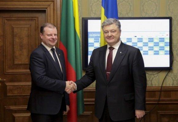 Ukrainos Prezidentūros, president.gov.ua nuotr./Saulius Skvernelis Ukrainoje susitiko su šios šalies prezidentu Petro Porošenka