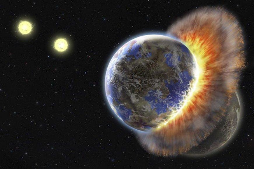 Aplink žvaigždę skriejantys dulkių debesys byloja apie planetų susidūrimą.